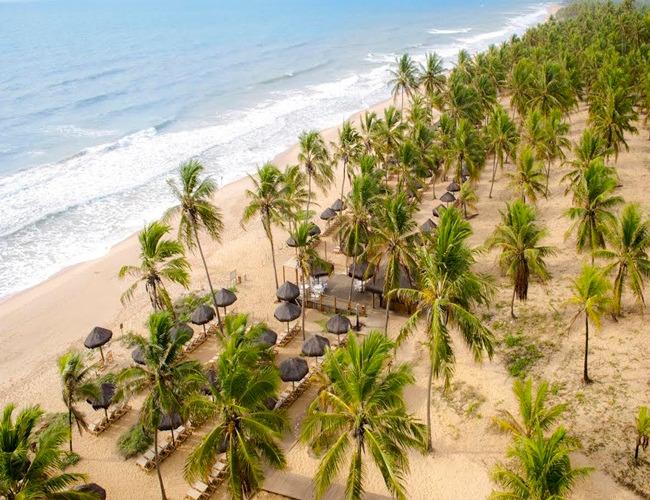 Vista aérea do beach club do Grand Palladium Imbassaí Resort  & SPA
