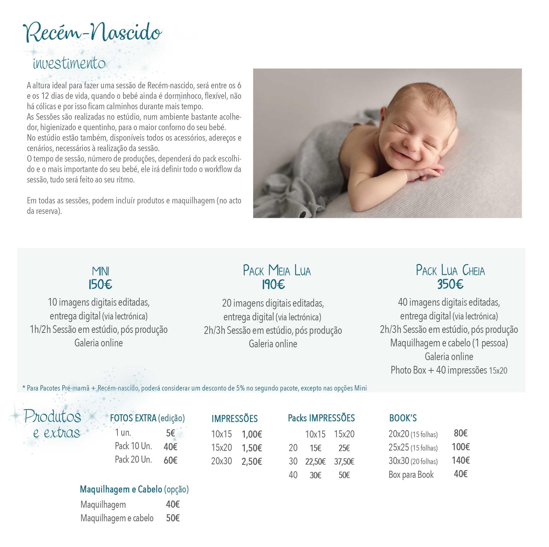 Fotografia Recém-nascido preços