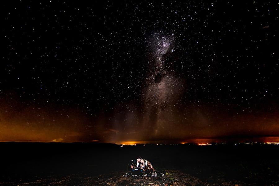 Fotografia de estrelas, pre wedding, longa exposição