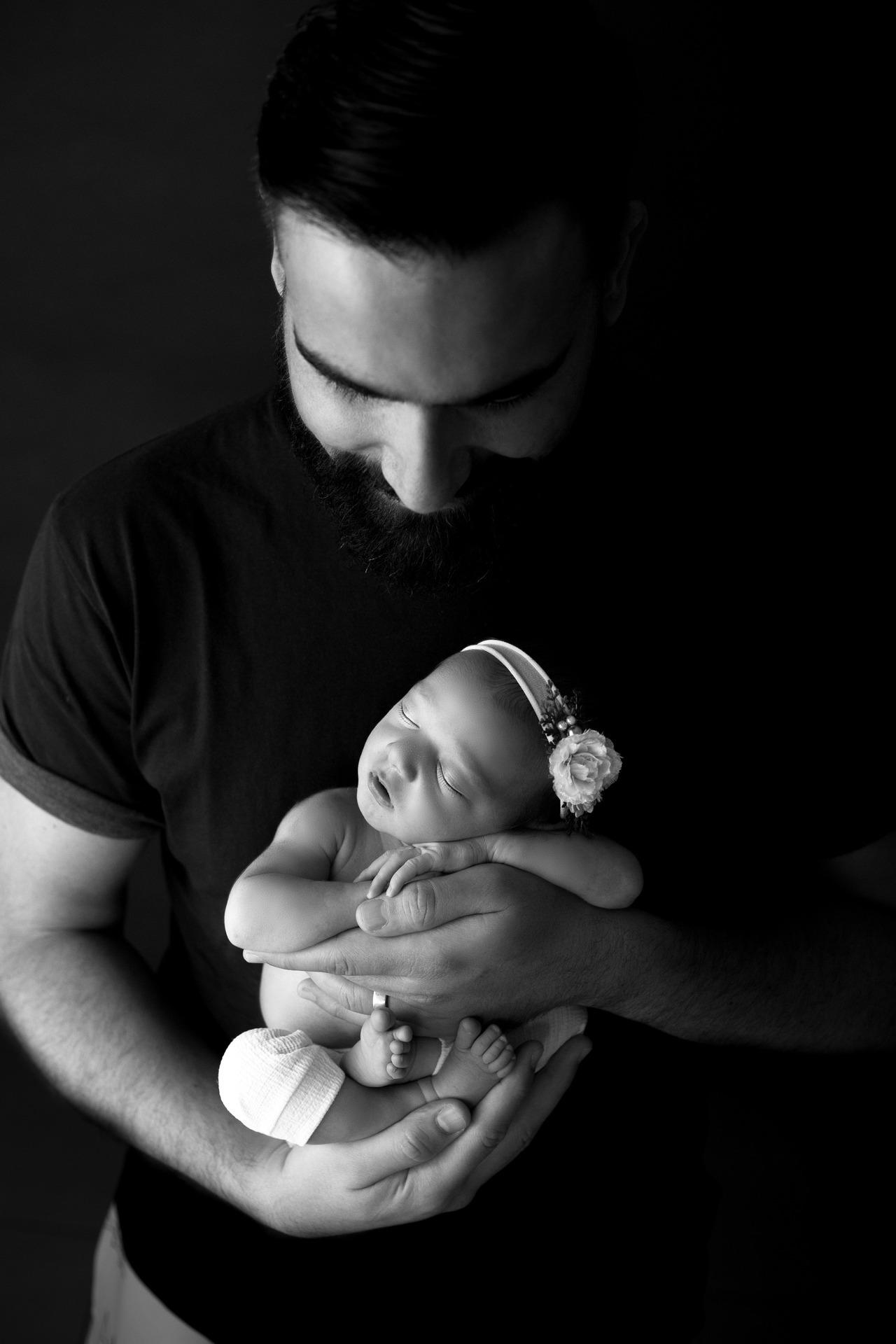 Ensaio Newborn preto e branco