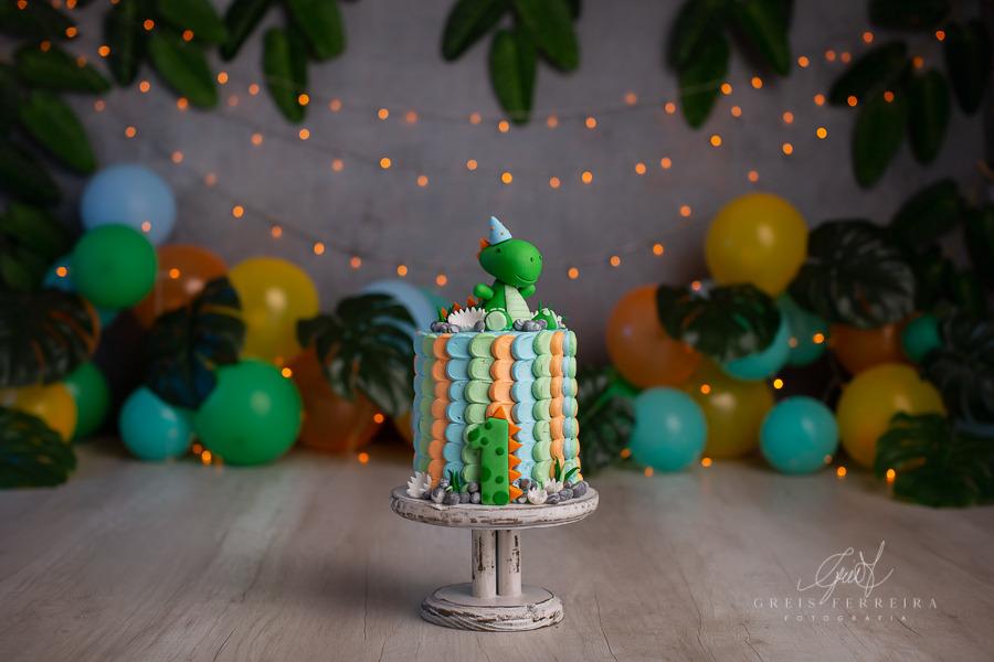 ensaio de bebê bolo smash the cake dinossauro