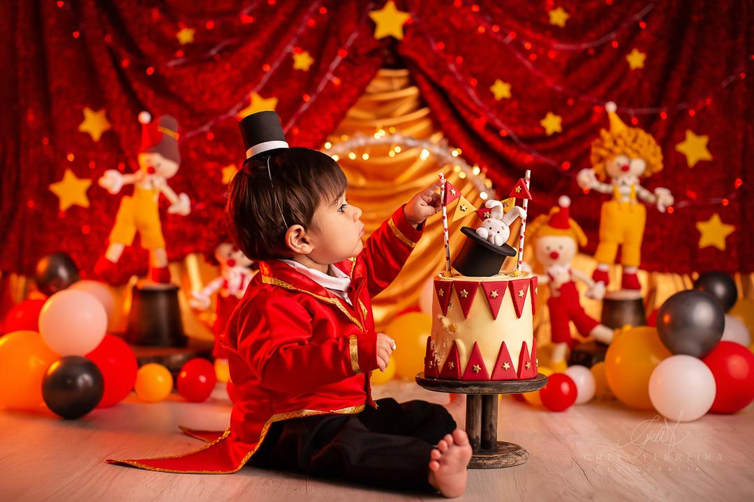 ensaio de bebê bolo smash the cake circo