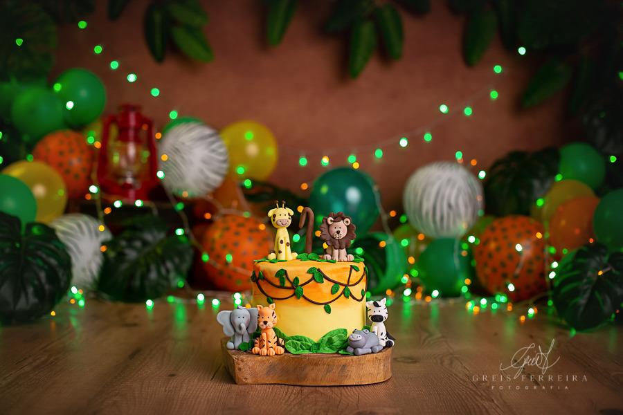 ensaio de bebê bolo smash the cake safari
