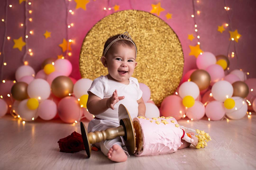 ensaio de bebê bolo smash the cake pequena princesa