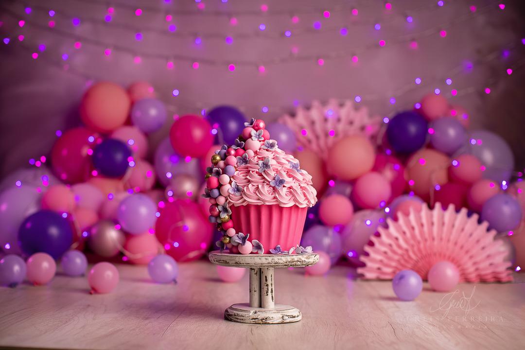 ensaio de bebê bolo smash the cake rosa lilas