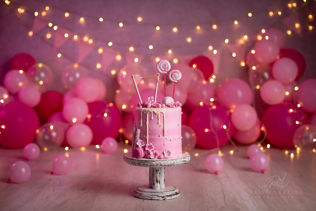ensaio de bebê bolo smash the cake rosa pirulito