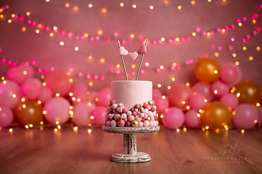 ensaio de bebê bolo smash the cake rosa