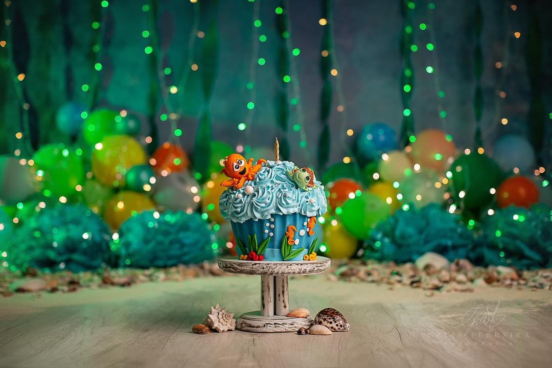 ensaio de bebê bolo smash the cake fundo do mar