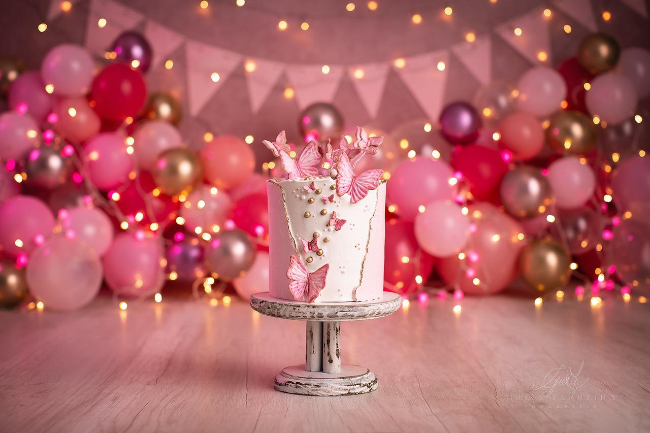 ensaio de bebê bolo smash the cake borboleta e flores