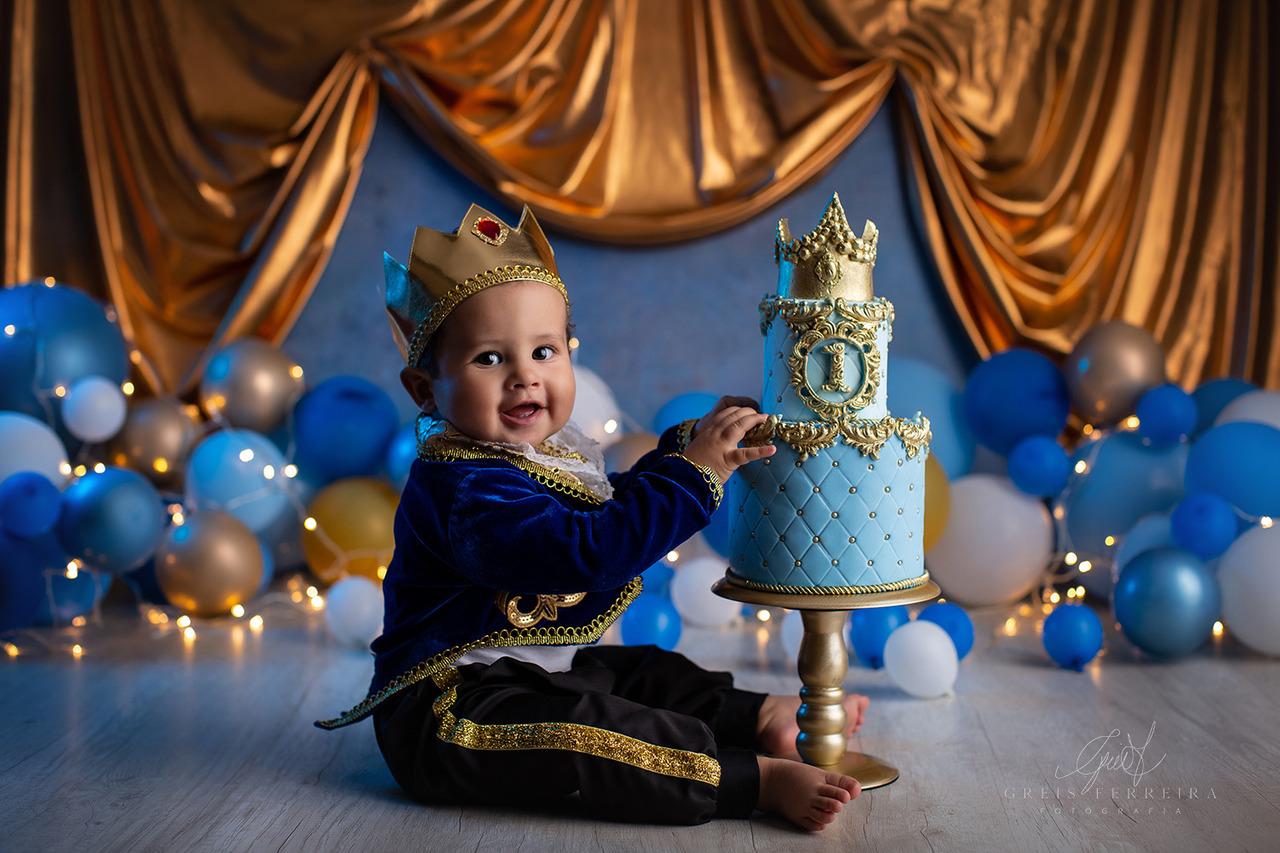ensaio de bebê bolo smash the cake realeza azul