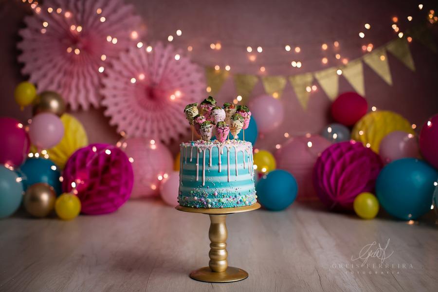ensaio de bebê bolo smash the cake candy colors