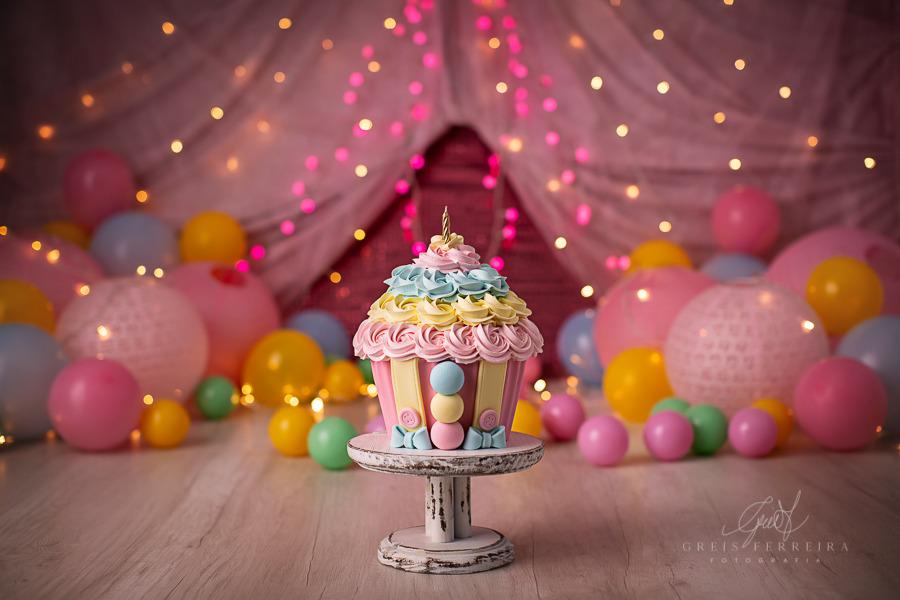 ensaio de bebê bolo smash the cake circo rosa