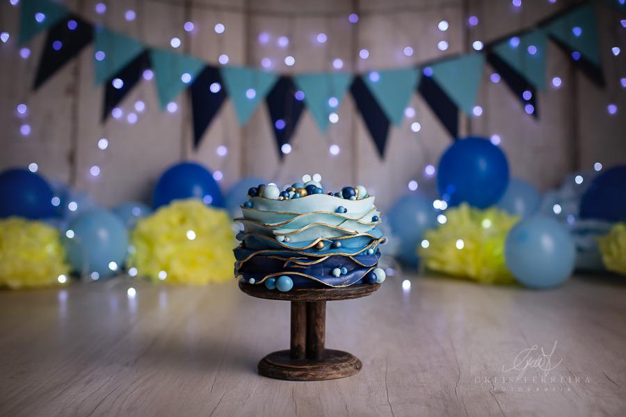 ensaio de bebê bolo smash the cake azul