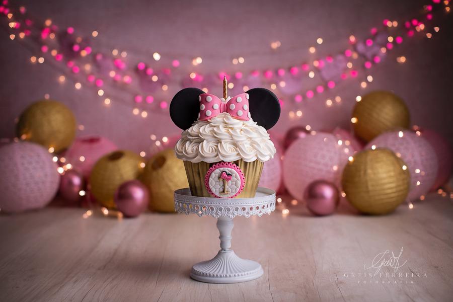 ensaio de bebê bolo smash the cake minnie rosa disney