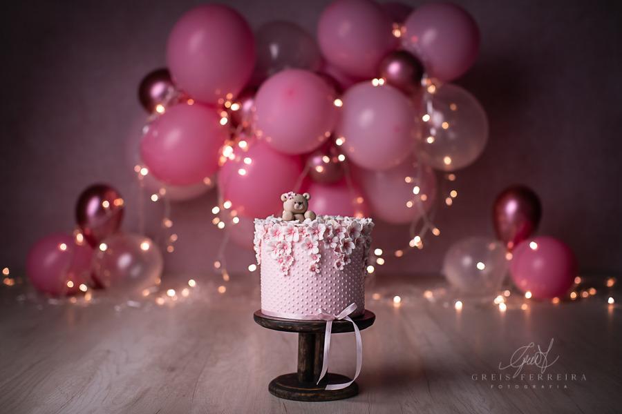 ensaio de bebê bolo smash the cake urso rosa