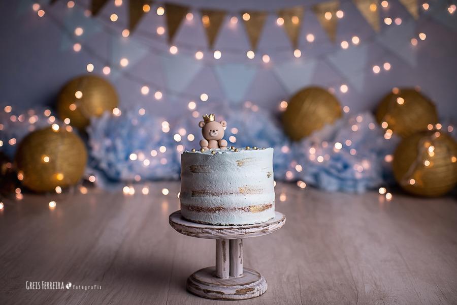 ensaio de bebê bolo smash the cake urso realeza