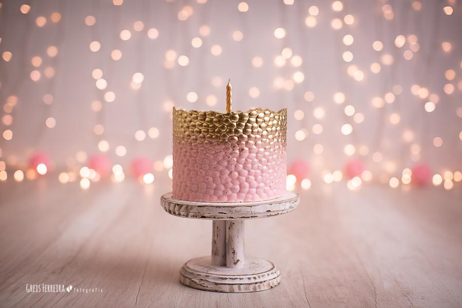ensaio de bebê bolo smash the cake rosa dourado