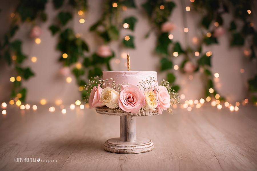 ensaio de bebê bolo smash the cake flores