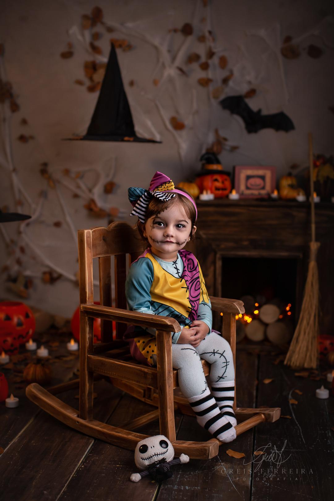 ensaio de bebe de halloween sally estranho mundo de jack